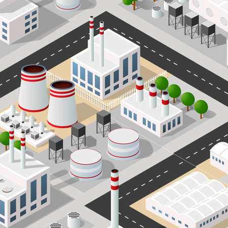 City plant factory industrial isometric urban design elements Vetores