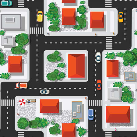 Top view of the city seamless pattern of streets, roads,