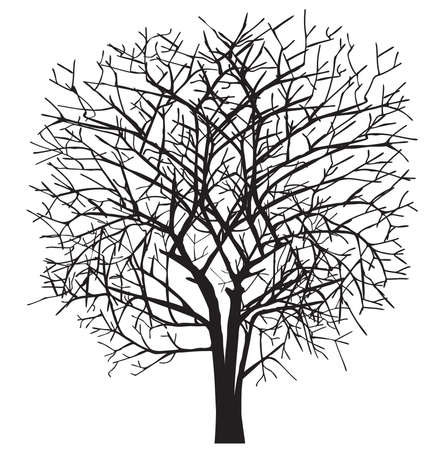 Dark single silhouette shape of a floral tree for the posters, shirts Vettoriali