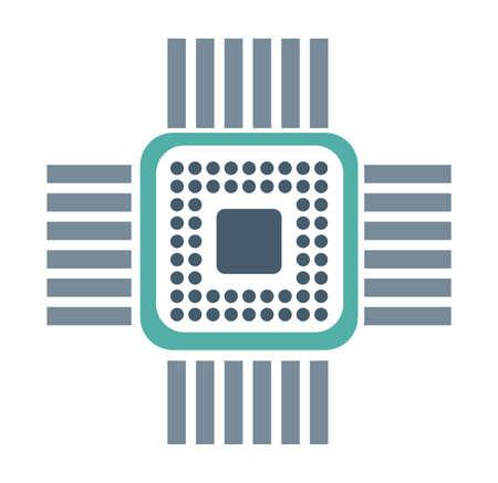 Single chip device of technology electronic microchip microcircuit Vektorové ilustrace