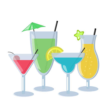 Set of alcoholic cocktails isolated on white background. Different cocktails with blue, orange, green and red color. Vector Illustration Illustration