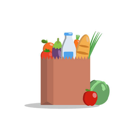 Paper package with fresh organic products. Healthy food from the farm. Vegetables, milk, orange, apple and bread. Cool vector flat design illustration