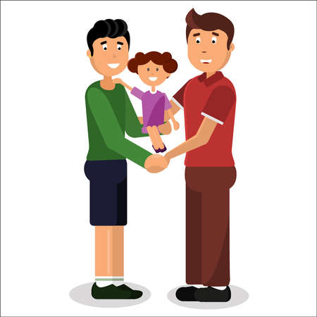 Gay couple. Gay family of two men and little daughter isolated on the white background. Vector illustration.