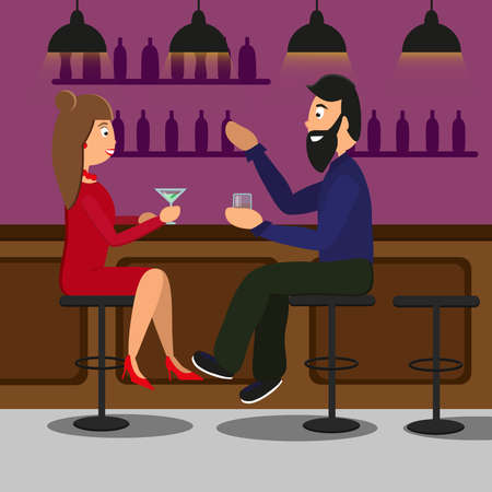 Man and woman drinking in a pub or bar. Vector illustration Illustration