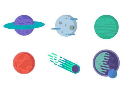 Fantasy colorful planets set. Cool flat cosmic collection of planets with comet. Vector illustration.