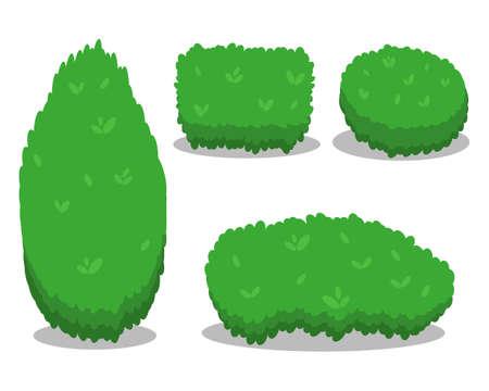Ensemble de divers arbustes isolés. Cool design plat simple avec des ombres. Différentes formes de buissons. Illustration vectorielle.