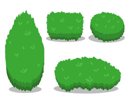 Set of Various Isolated Bushes. Cool simple flat design with shadows. Different Shapes of Bushes. Vector Illustration.