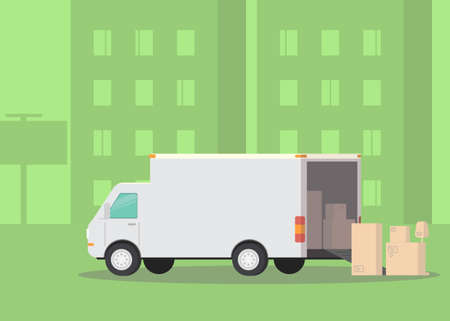 Moving truck and cardboard boxes on the street. Moving House. Transport company. Vector Illustration
