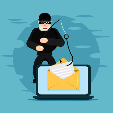 Hacking phishing attack. Flat illustration of thief hacking email message or personal information on the blue background Illustration