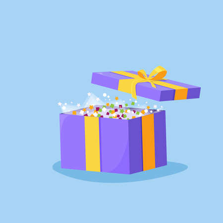 Cute illustration of gift box present, greeting, Opened gift box, surprise concept with bright light