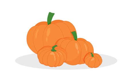 green lantern: Pumpkin vector set. Simple flat style design. Cool banner for Halloween party or website. illustration