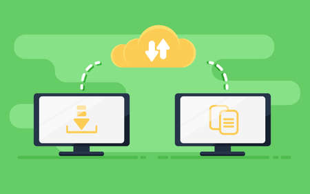 File transfer. Two computers transferred documents. Copy files, data exchange, backup, PC migration, file sharing concepts. Flat design graphic elements. Vector illustration