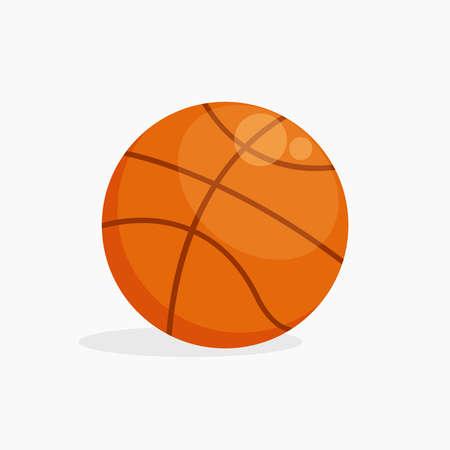 Basketball with shadow, flat design illustration.