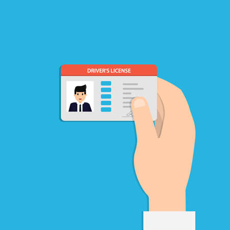 Illustration of hand holding the car driver license identification card with photo. Vector illustration flat design. Vettoriali