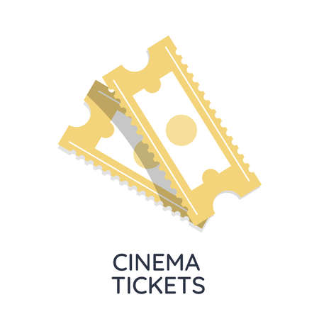 Two cinema vector tickets isolated on white background with text. front view illustration. Illustration