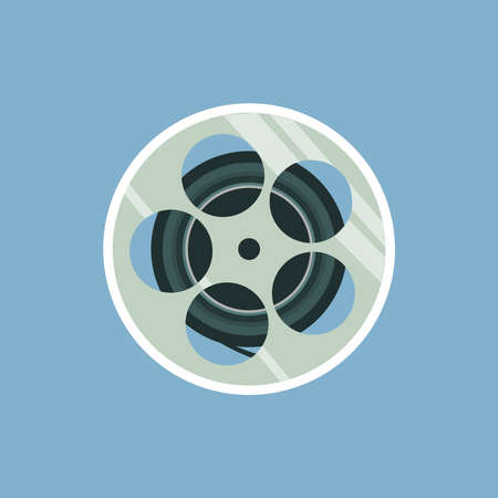 Film reel vector illustration isolated on the blue background. Cool Flat design.