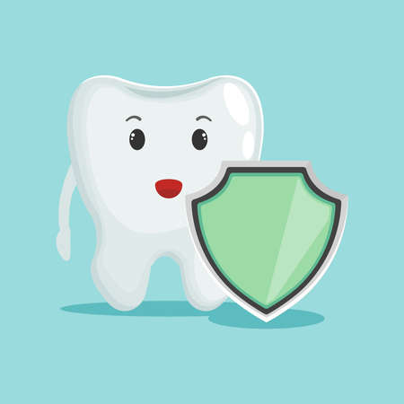 Dental care concept. Tooth and shield flat design vector illustration. Can be use for banners, websites, etc.