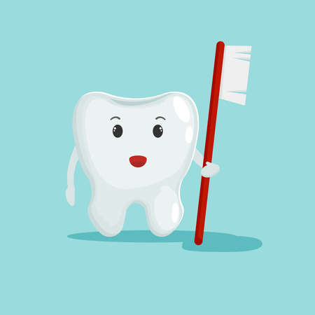Cute Tooth hold toothbrush. Dental care concept. Flat design illustration. Can be use for banners, websites, etc.