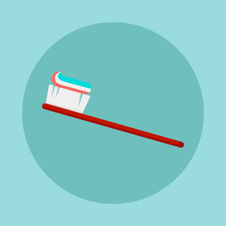 Toothbrush with paste vector icon. Dental care concept. flat design illustration. Illustration