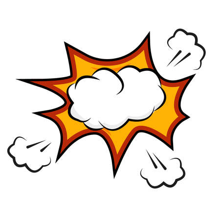 Comic explosion. Vector speech bubble for different emotions like boom, omg or wow, without text. Stock Illustratie