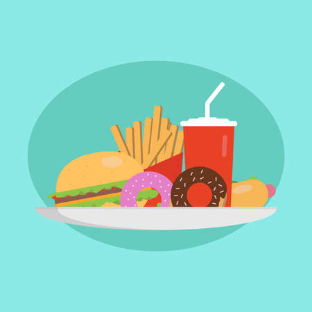 Fast food concept. Plate with burger, hot dog, donuts, and cola. Illustration Stock Photo