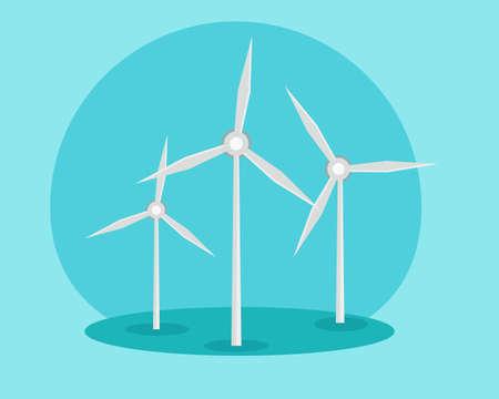 Windmills, ecology concept. Alternative sources of energy. Green energy. Illustration