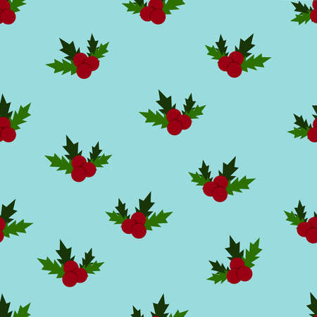 Holly, ilex branch with berry and leaves, mistletoe pattern. Christmas, new year holiday celebration symbol. Isolated on a blue background.