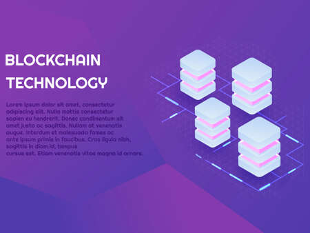 Blockchain banner with neon light vector illustration, digital art and technology concept