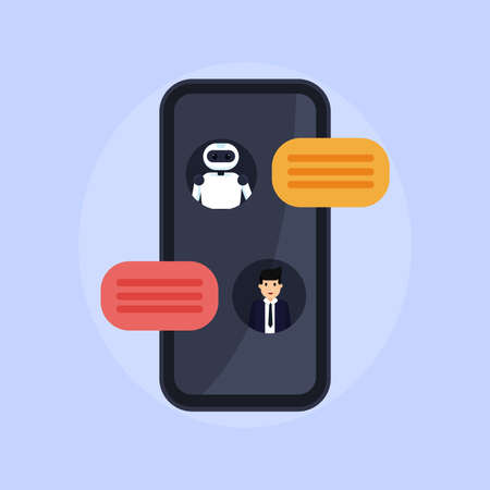 Chat bot illustration. Person talks with robot. Conversation between bot and human Illusztráció