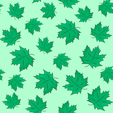 Pattern with green leaves on the green background. Vector illustration of maple leaves