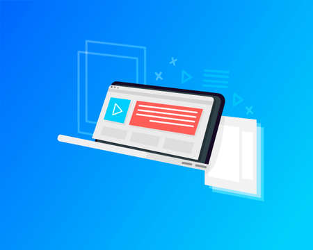 Online marketing concept, website with ads, user experience. Vector Illustration
