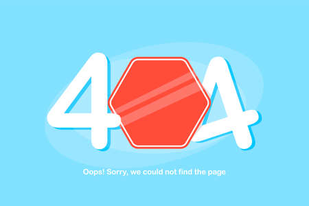 404 error, website not found sign with red sign on the blue background Stock Illustratie