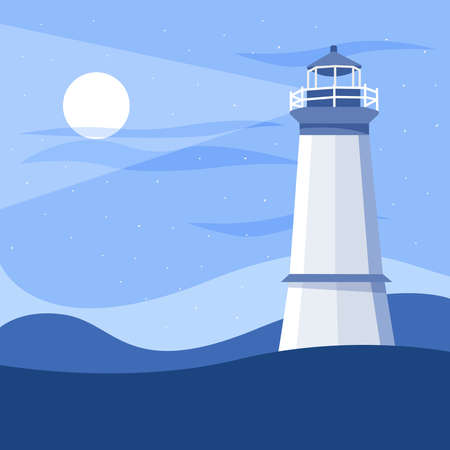 Striped colored lighthouse. Marine, sea and oceanic object. Building for studying the surroundings and coastal areas, lighting the way for ships. Vector illustration.