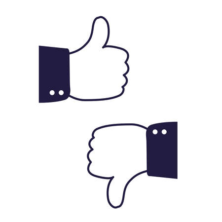 Like and dislike icon. Hands with thumbs up and down on the white background Stock Illustratie