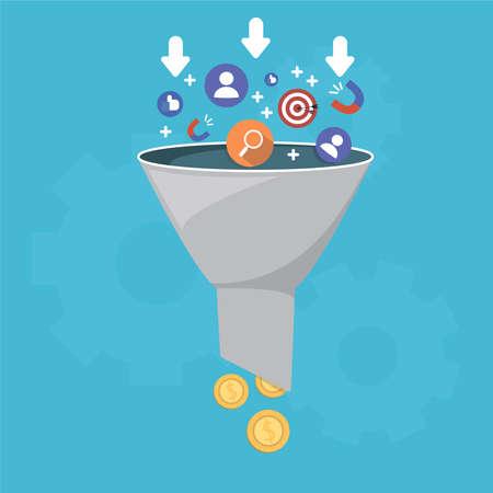 Verkooptrechter en leadgeneratie, het genereren van inkomsten uit het verkoopproces, een aankooptrechter, is de visuele weergave van het klanttraject