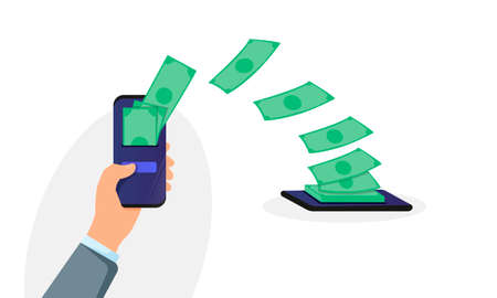 People sending and receiving money wireless with their mobile phones. Hand holding mobile phone and making money transfer Stock Illustratie