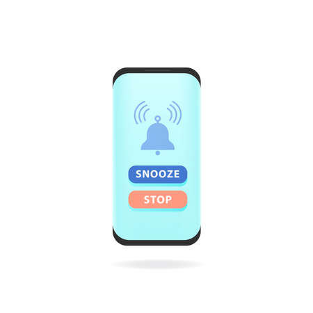Smart phone alarm clock. Vector illustration phone with app alarm clock on the screen and snooze and stop button
