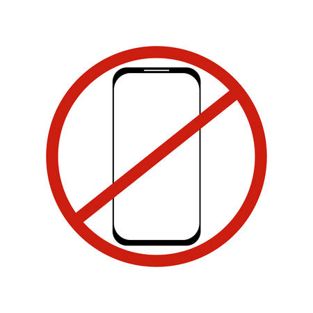 No smartphone and phone icon symbol. Black and white illustration on the white background with red circle