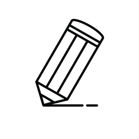 Black and white concept. Pencil icon on the white background