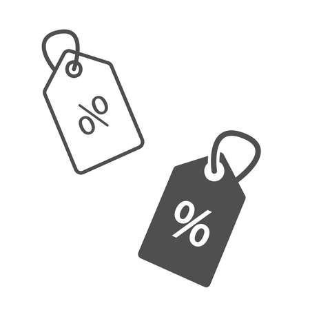 Sales and price black and white icon. Black price discount tag on the white background. Black outline sale tag icon