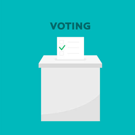 Presidential election banner background. election vote, hand holding ballot paper for election vote concept at colorful background. Voting illustration