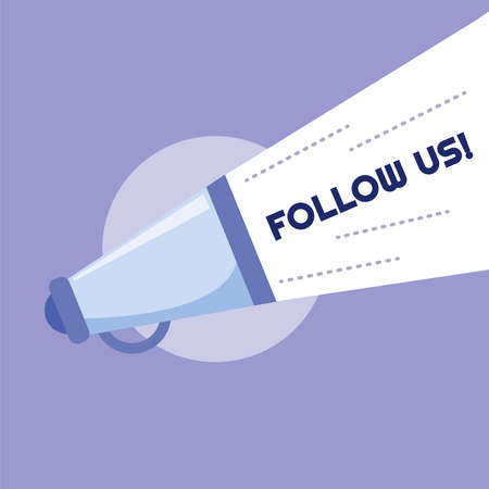 Follow us banner with violet megaphone and words