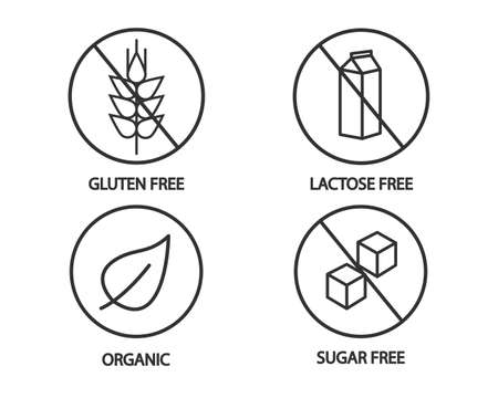 Food icon - gluten free, lactose free, organic and sugar free icons. Black and white illustration