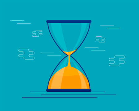 Hourglass antique instrument. Hourglass as time line, concept for business deadline, urgency and running out of time. hourglass illustration, sandglass or sandclock, flat design vector Ilustração