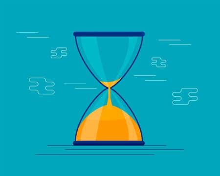 Instrumento antiguo de reloj de arena. Reloj de arena como línea de tiempo, concepto de fecha límite comercial, urgencia y quedando sin tiempo. Ilustración de reloj de arena, reloj de arena o reloj de arena, vector de diseño plano Ilustración de vector