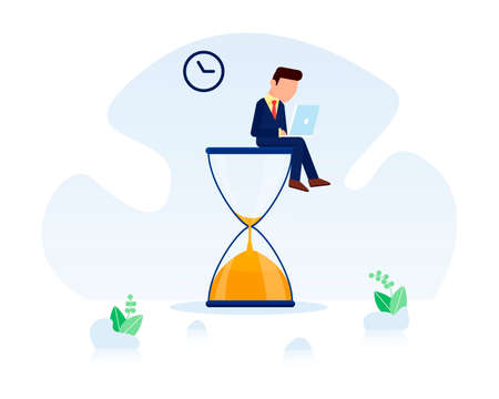 Businessman sitting on the hourglass with laptop legs crossed. Business concept of time management and procrastination. Vector illustration. Deadline and time management concept Illustration