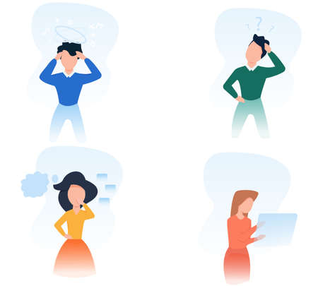 Brainstorm concept. Collection of vector illustration of people thinking. Modern business idea.