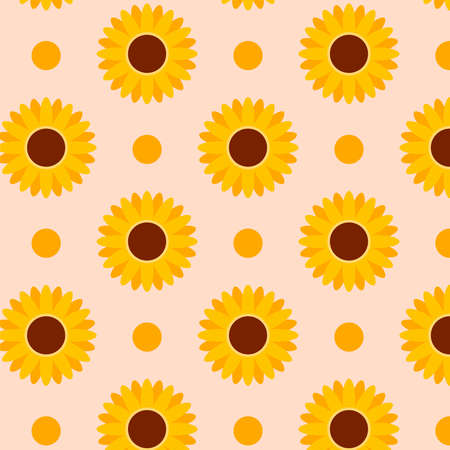 Autumn sunflowers pattern. Perfect for greetings card, textile, wallpapers. Vector illustration Stock Illustratie
