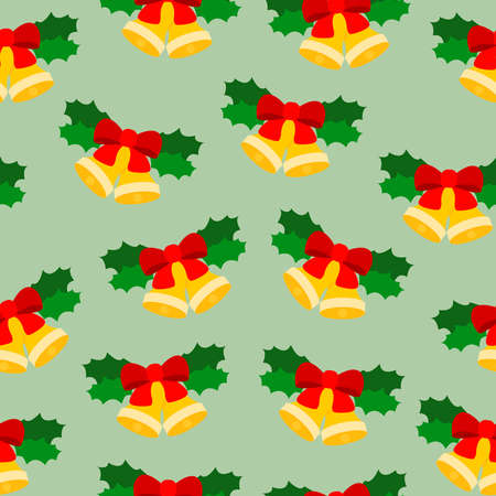 Golden Christmas bells on the green christmas background. Vector illustration. Perfect for cover and card.
