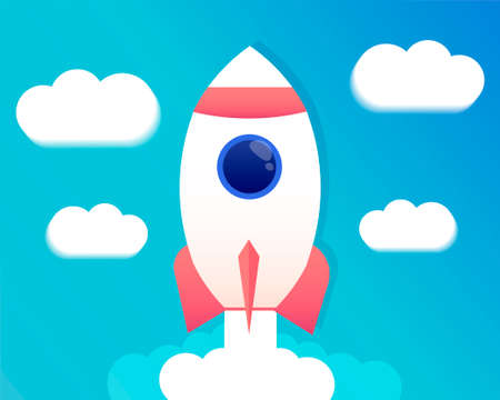Rocket launch. Spaceship vector illustration. The concept of business product on a market.